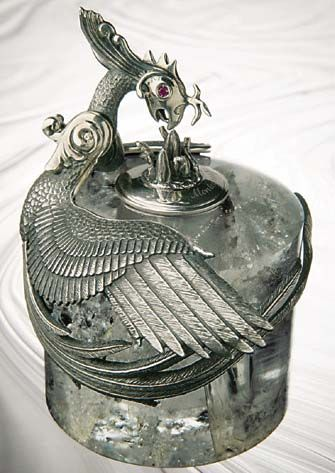 Eternal Bird Inkwell. Sterling Silver: