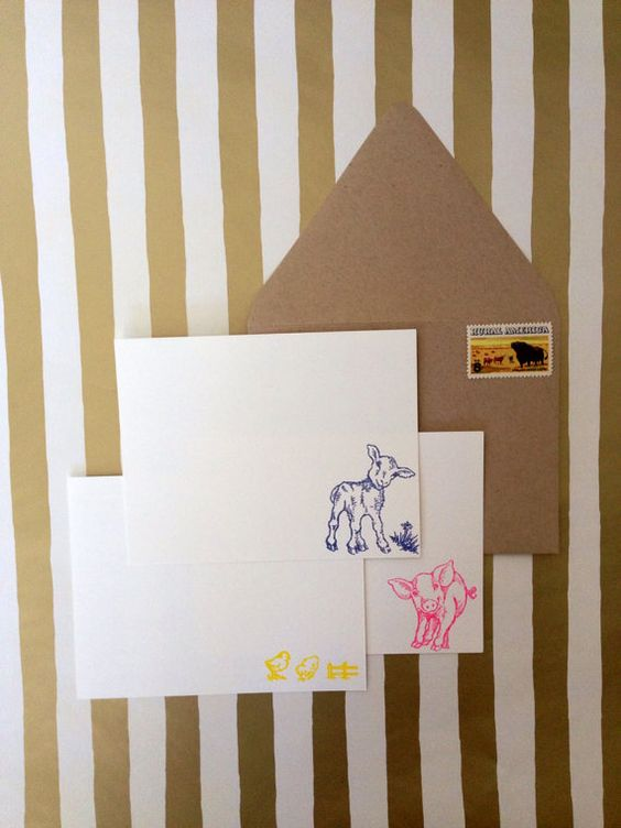 Baby Farm Animal Stationery Set, hand stamped and embossed by RHCollection, $14.00