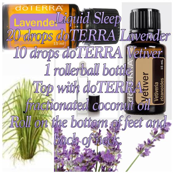 Liquid Sleep using doTERRA ESSENTIAL OILS. Roll on bottom of feet and back of neck before bedtime.: