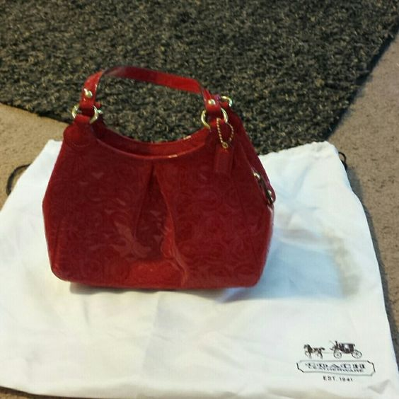 Leather coach bag. Up for trades or great offers. Sexy red evening red bag Coach Bags Shoulder Bags