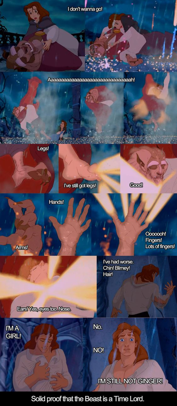 Aha! I knew it! There's no other way he could have survived after Gaston stabbed him! The Beast must be a Time Lord!    #doctorwho #beautyandthebeast