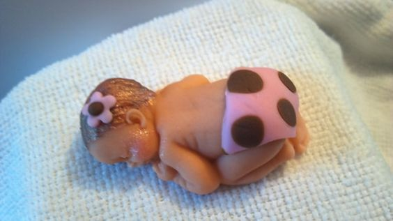 Fondant Baby baby polka dot fondant baby girl by SWEETBABYLAND, $8.00