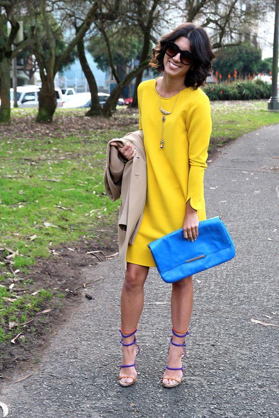 Trzy stylizacje: żółta sukienka na wiosnę  This Time Tomorrow  Więcej na Moda Cafe!