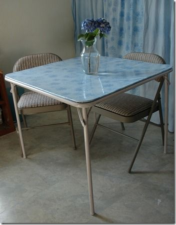 card table.  recover the top with a vinyl tablecloth.