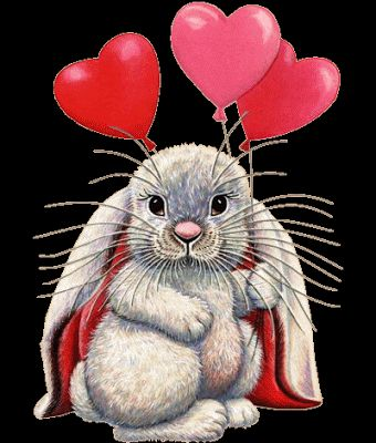 Conejo con globos de corazones