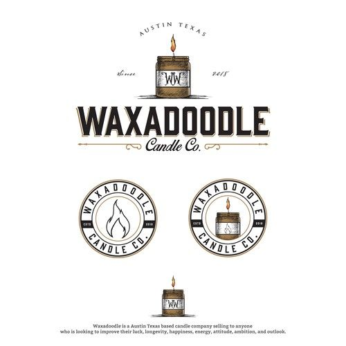 Rustic Logo Design By Constant For Waxadoodle An Austin Texas Based Candle Company Logoinspiration Log Rustic Logo Design Logo Design Vintage Logo Design