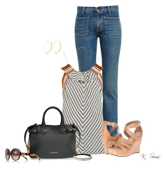 """""""Untitled #6148"""" by ksims-1 ❤ liked on Polyvore featuring Yves Saint Laurent, Chloé, UGG Australia, Burberry, Alexis Bittar, Tory Burch, Lana and Vince Camuto"""