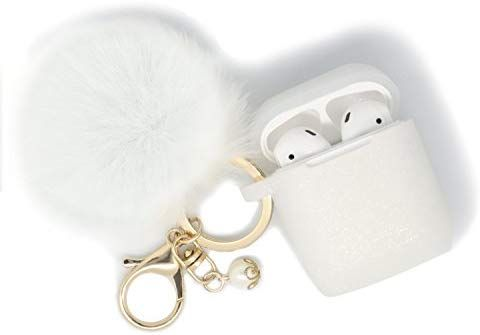 Amazon Com Airpods Case Filoto Airpods Silicone Cute Glittery Case Cover With Keychain Strap For Apple Airpod Whi Accessories Case Airpod Case Earbuds Case