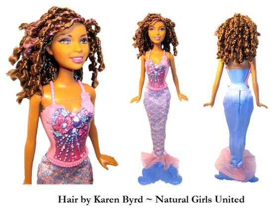 Curly braided mermaid doll. Hair by Karen Byrd. Natural Girls United. www.naturalgirlsunited.com