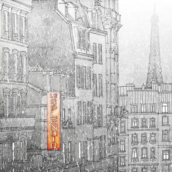 Winter in Paris  - Paris illustration - Paris art illustration print - Paris decor -Love, grey, white, Eiffel tower,Paris,France, French.