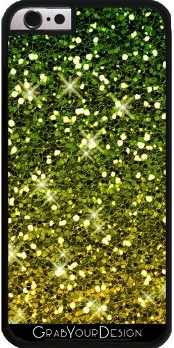 GrabYourDesign - Case for Iphone 6/6S Dark Green Gold Glitters - by Tees2go