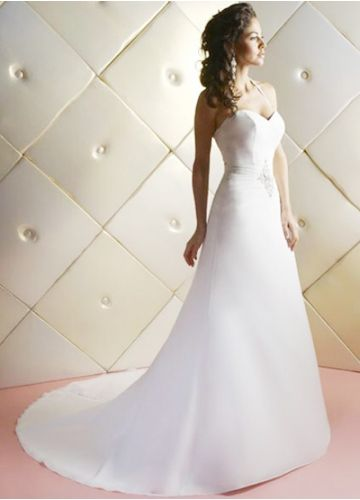 Halter Neck Sweatheart Satin A-Line Wedding Gown With Embroidery