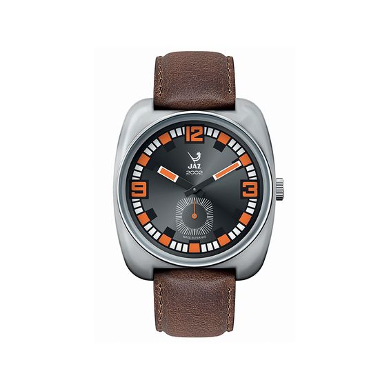 Montre vintage 2002 PHENIX - bracelet en cuir marron, boitier en métal couleur acier et cadran noir - JZ 110-2 - pour homme - Boutique Officielle JAZ - un savoir-faire horloger made in France depuis 1919.