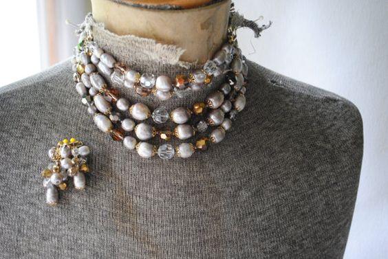 Glamour vintage 50s full parure necklace bracelet clip by VezaVe