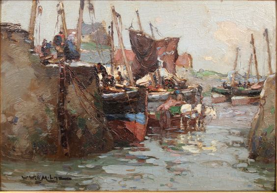 """William Watt Milne """"St. Monans, Fife"""", oil on panel, signed and inscribed with title on reverse. Est. £800-£1,200."""