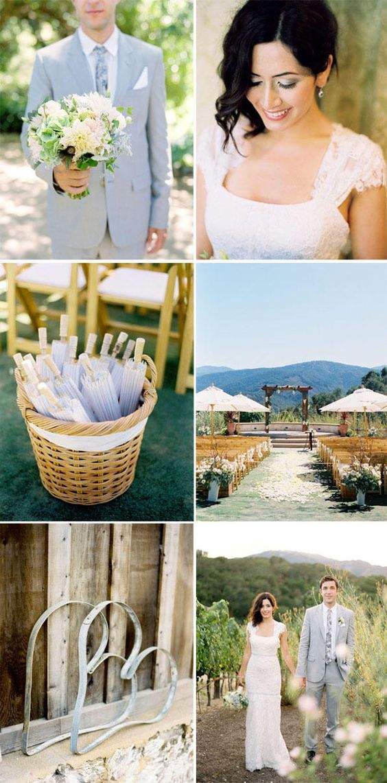 This is such a beautiful ranch style wedding venue, but more importantly I love this dress by Carolina Herrera! The color of the grooms grayish blue suit would be perfect for my bridesmaid dresses too!