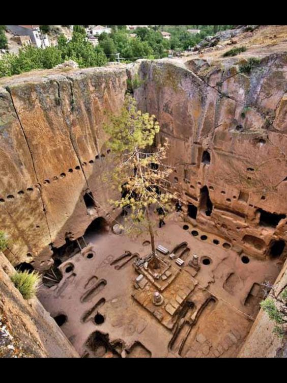 The Eskigumus rock cut monastery off the Kayseri - Nigde road near to the city of Nigde in Turkey. Eskigumus is famed for having what is believed to be the only fresco with a smiling Theotokos.