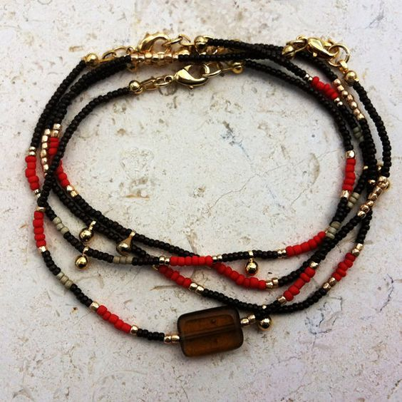 Red bead with triple gold drops bracelet by MelissaHeldDesigns, $20.00