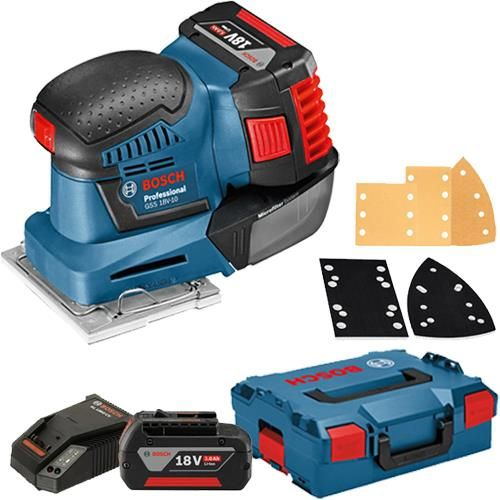 Click To Enlarge Bosch Gss 18v 10 18v Orbital Palm Sander With Two 3 0ah Batteries Accessories Bosch Bosch Tools Tools