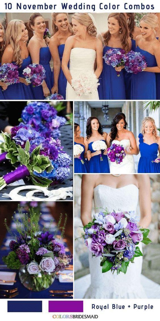 10 Gorgeous November Wedding Color Palettes In 2018 Royal Blue
