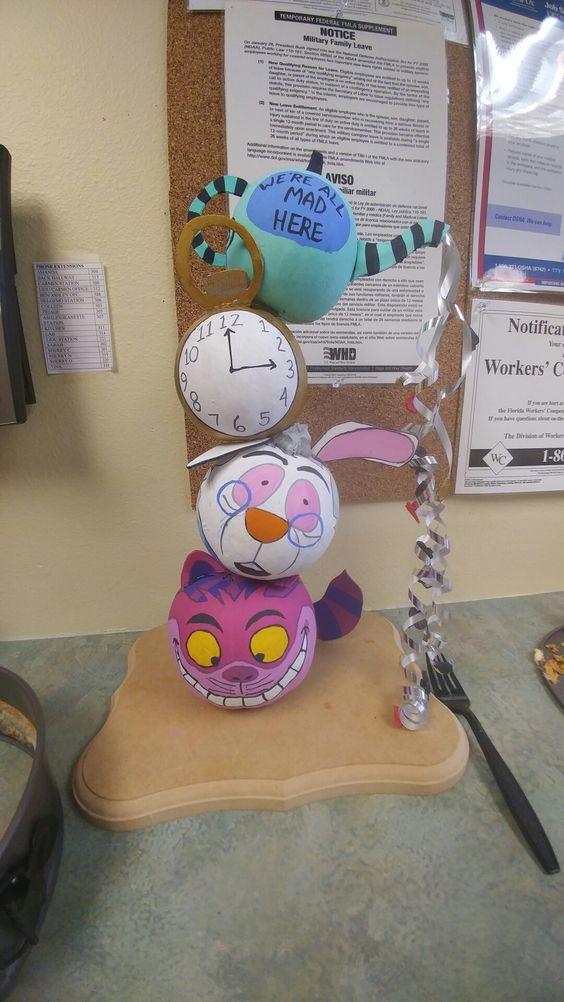 Alice in Wonderland themed no carve pumpkin!