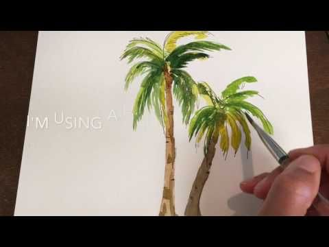 1 How To Paint Simple Palm Trees In Watercolor Youtube Palm Tree Drawing Tree Drawing Simple Palm Trees Painting