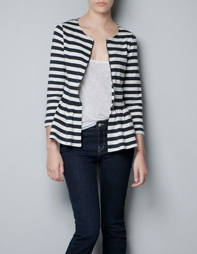Great dress-it-up/dress-it-down possibilities with this cotton-blend peplum jacket from Zara.