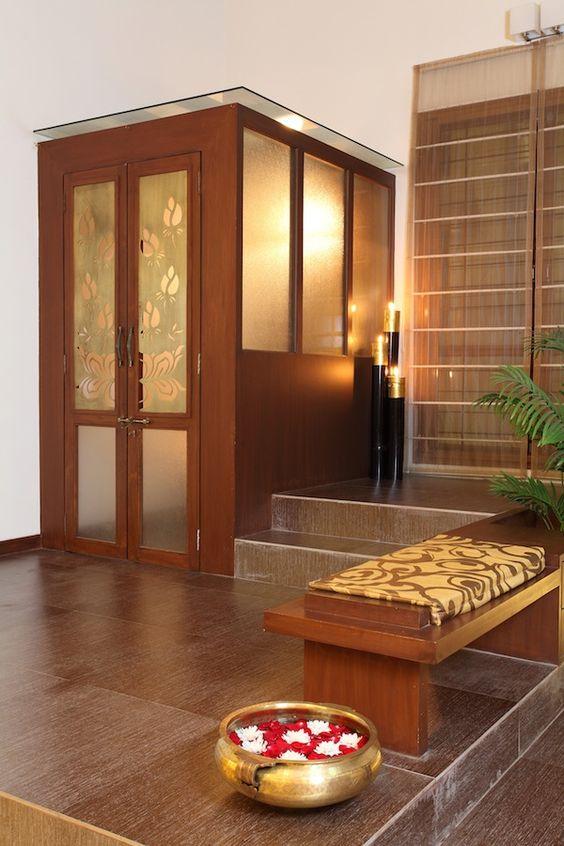 Pooja room design home mandir lamps doors vastu idols for God room interior designs