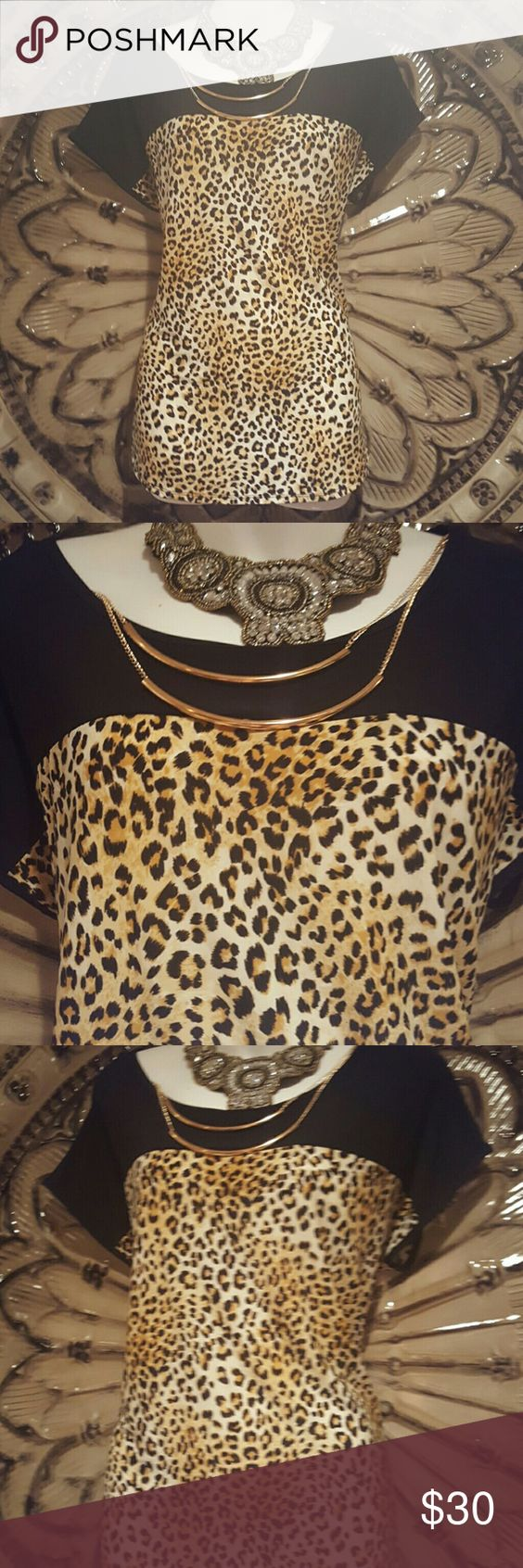 cheetah inspired  top gorgeous  colors with stretch Tops
