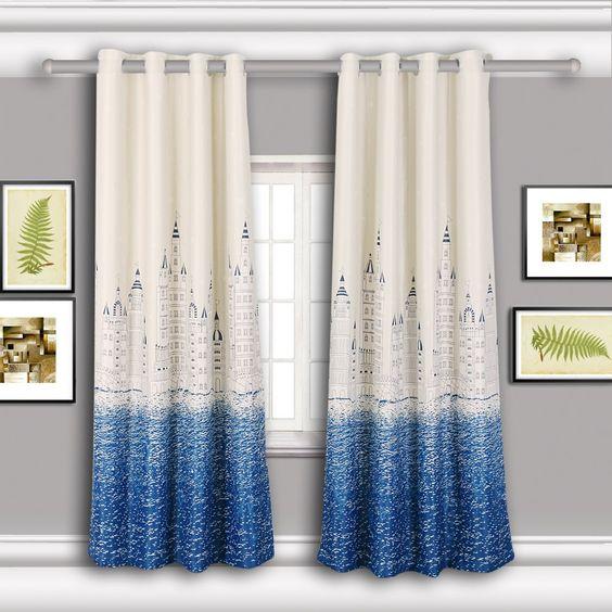 Curtains Ideas 86 inch curtain panels : Amazon.com - Hika Romantic Water Castle Pattern, Blackout ...