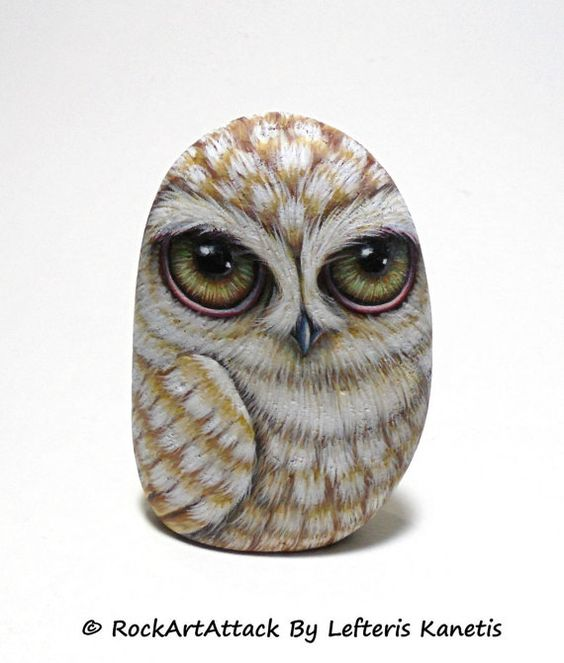 Painted Rock 3D Beige Owl ! Is Painted with high quality Acrylic paints and finished with Glossy varnish protection.