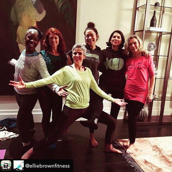 Marathon yoga comes to endAs usual Jana Appleyard from hvareno.com/yoga/ @donkeysaregreat pushes us to a the limits with her wonderful choreography So proud to have all these awesome ladies sporting my gear Always so much fun - love yogaring with you @elliebrownfitness @zayling @missusmackenzie . . . #yoga #yogalife #yogafamily #healthylifestyle #fitness #lovelife #family #friends #love #inspire #happy #ethicalfashion #slowfashion  #friendlyfashion #ecofriendly #clothingartist #transparency #organic #handprinted #ethical #sustainable #makeadifference #everypartoftheprocess #animallovers #worldlandtrust #tshirts4rainforests #FunAliveFresh #nissimlondon  #emmanissim