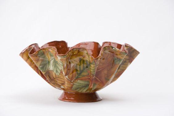 Leaf print fabric bowl - Vessel Vixon, Charlotte, NC - cool stuff