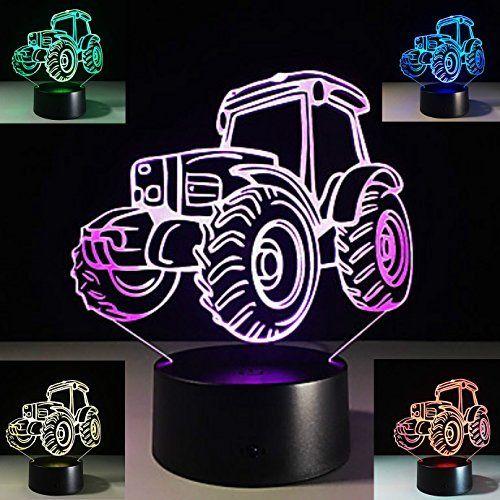 Tractor 3D Night Light 7 Color Change LED Table Desk Decor Sleeping Lamp for Kid