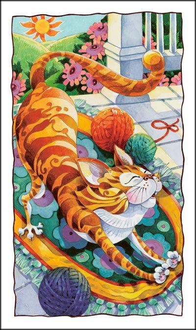 cat with yarn: