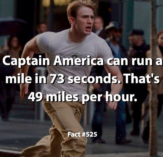 So, not only can Cap lap me in normal conditions, he can also do it at the human speed of light.