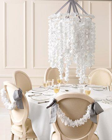 Chandelier centerpiece made from yarn, doilies, and wreath forms.  So pretty! (Martha Stewart - Tutorial)