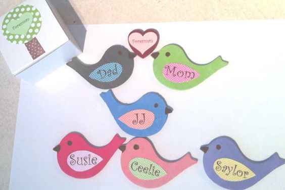 Wooden bird magnets/personalized bird family by TheWoodenOwl