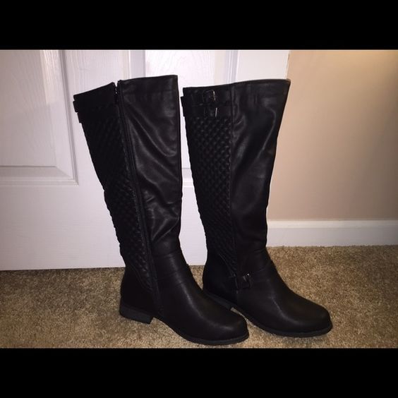 Women's black boots w/silver hardware/Never worn! These hit right at the knee. Never worn. Shoes Over the Knee Boots