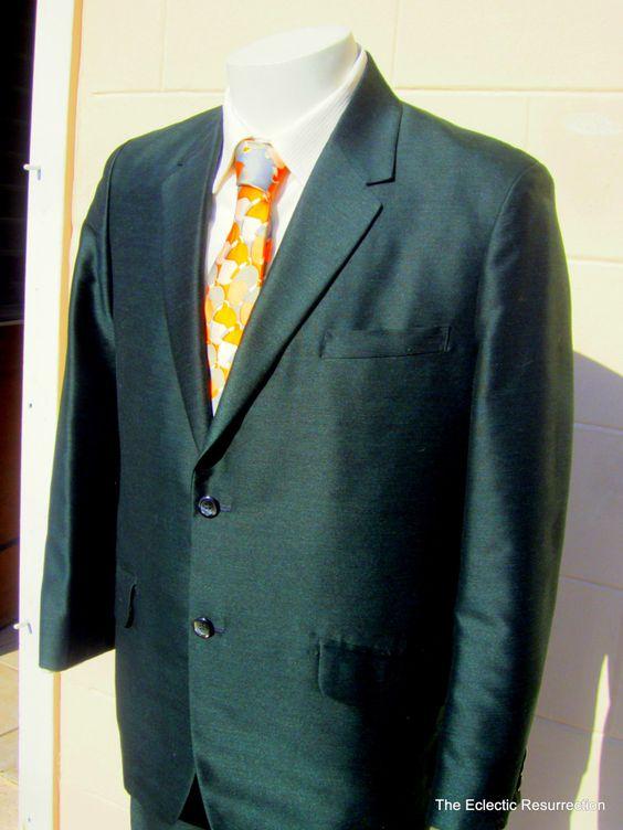 Vintage Green Sharkskin Suit-1960s-Hand Tailored-Jacket &amp 2 Pants
