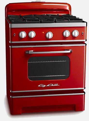 Big Chill Retro Stove, Cherry Red traditional major kitchen appliances