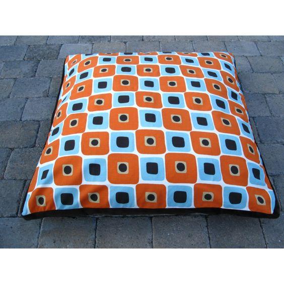 "$225 Isabella Cane Stylish Blue/Orange Mod Bed 40"" x 40 for Large Dogs @ HSN.com"