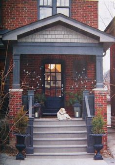 painted houses with same color trim and brick accent - Google Search                                                                                                                                                      More