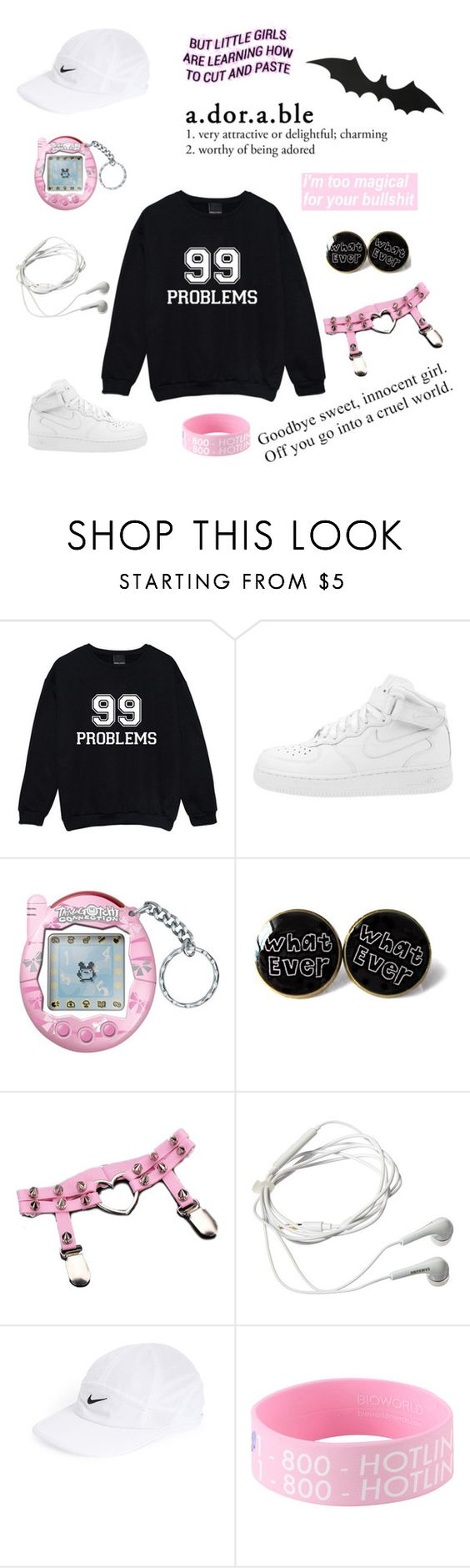 """""""sad 💦"""" by kawaii-baby-heads ❤ liked on Polyvore featuring NIKE and Samsung"""