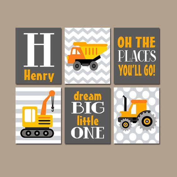 ★CONSTRUCTION TRUCKS Wall Art Boy Nursery Artwork Orange Gray Places Go Child Dream Big Dump Truck Tractor Personalized Name Set of 6 Prints
