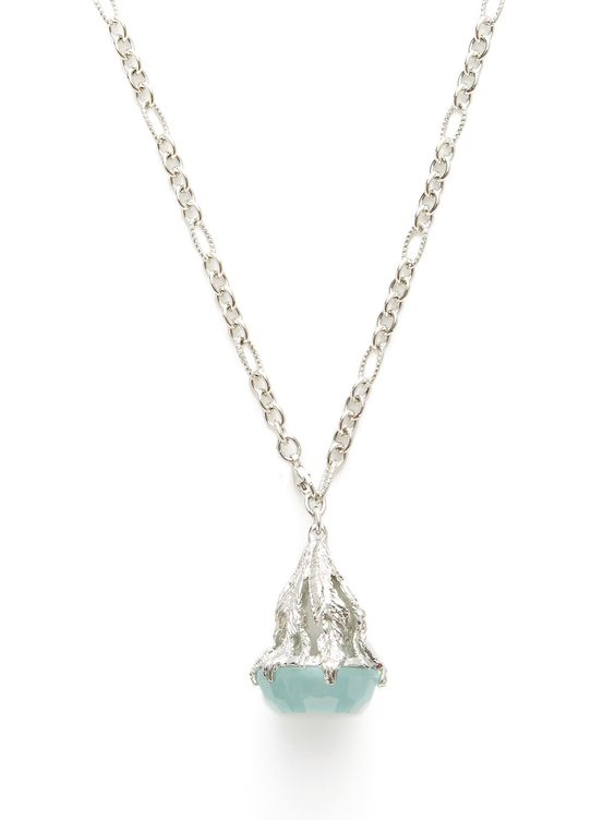 Aquamarine Bell Pendant Necklace by Nina Runsdorf at Gilt