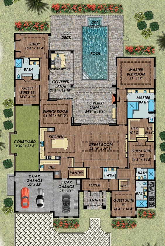 Florida mediterranean house plan 71532 the study house for Florida mediterranean house plans