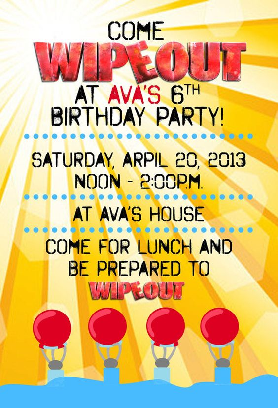 CuTe! WIPEOUT Birthday Party Invitation Water Slide party by DigiGoose