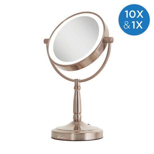 Cordless Dual Sided Led Lighted Vanity Mirror 10x 1x Lighted Vanity Mirror Mirror Vanity Mirror