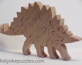 Triceratops Dinosaur Wooden 3D Puzzle in Oak by HolyokePuzzles